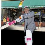 Tom Mihalik playing cricket in Kensington Market.