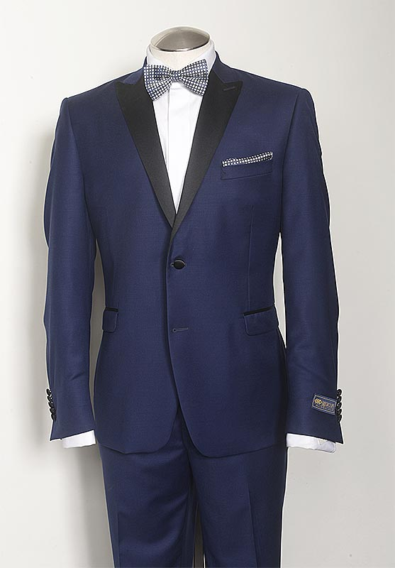 Need a tuxedo? From elegant blacks to fashion forward blues we have you covered. Shown here is a Tom's Place formal wear exclusive Sartoriale Tuxedo. Options include shawl or notched collars and single or double breasted (DB).
